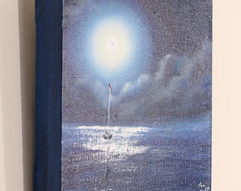 Sailboat Painting, Coastal Landscape, Full Moon Painting, Ocean Art, Seascape, Beach Decor, Original Small Oil Painting on Canvas