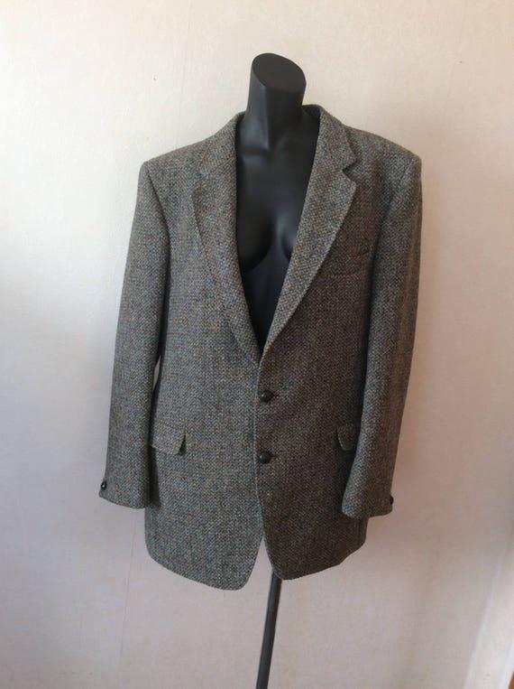 Harris Tweed Grey and Olive Green Sports Jacket Blazer