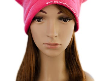 Pink Pussyhat Made Of Fleece Fabric, Women's March First Anniversary, Las Vegas Concert Rally on January 21, 2018