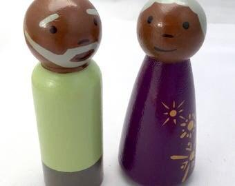 "Peg Doll Grandparents - Grandma and Grandpa -  African American - Grey Hair Peg Dolls - 3.5"" Peg Dolls - Nana and Pop"