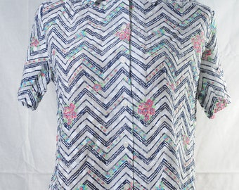 Vintage Chevron floral print blouse