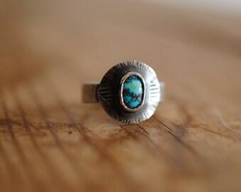 Small Turquoise Saddle Ring | Size 7.5