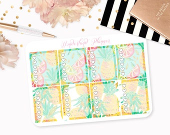 Summer Fruits - Tropical Themed Planner Stickers // Full Box Checklists // Perfect for Erin Condren Vertical Life Planner