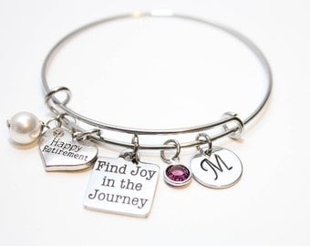 retirement bracelet, retirement gift, retirement jewelry, retirement bangle, happy retirement gift, happy retirement jewelry, retirement
