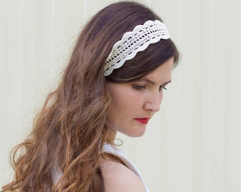 Crochet summer headband Beige boho headpiece Lace head band womens Adult hair band Cotton hair accessories Crochet hippie headband head wrap