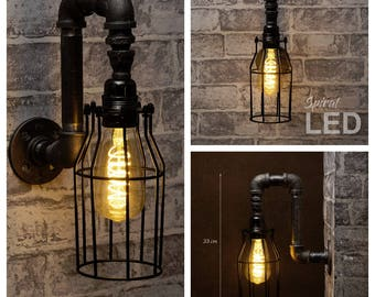 Black industrial iron pipe wall light with cage shade - Free UK postage