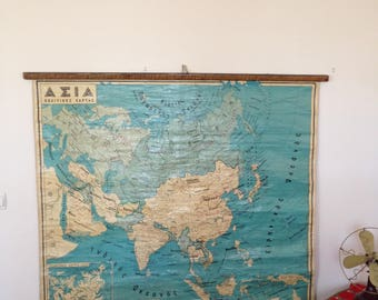 Vintage Political Map of Asia, Classroom Map, School Chart, School Map, Pull Down Map, Geophysical map of Asia, Vintage map of Asia.