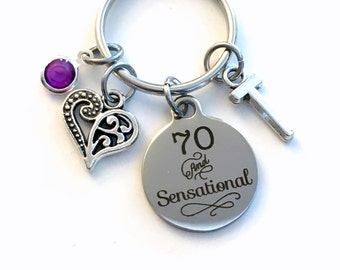 Gift for Seventy Birthday Keychain, 70 and Fabulous Key Chain 70th her Birthstone Initial Present Jewelry Mother Women Age Mom Friend him