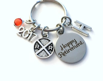 Retirement Gift for Conductor, 2017 Railroad Key Chain Rail Road Keyring Railway Train Sign him her men women present Retire Birthstone Man