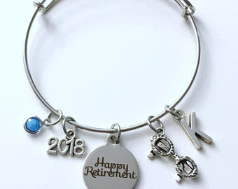 Retirement Gift for Optometrist, Optometry Ophthalmologist Charm Bracelet Jewelry Silver Bangle Eye Glasses letter initial Doctor Present