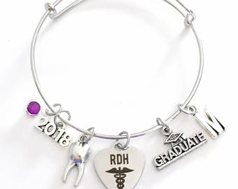 RDH Graduation Gift for Dental Hygienist Jewelry Charm Bracelet Bangle 2017 2018 2019 Registered Oral Tooth School Student Silver Graduate