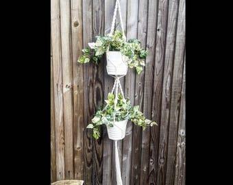 Macrame Double Plant Hanger | Ceiling Plant Hanger