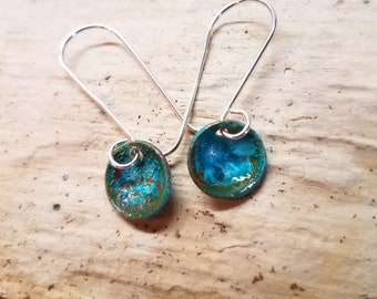 Copper Patina Dangle Drop Earrings with Handmade Sterling Silver Ear Wires / Verdigris Patina / Maine made jewelry/ Gift for her