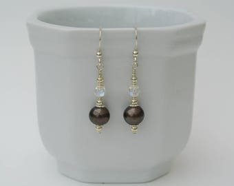 Sterling Silver Black Pearl Drop Earrings with Freshwater Pearls in Dark Olive Black, Swarovski Crystals and Silver Bead Caps