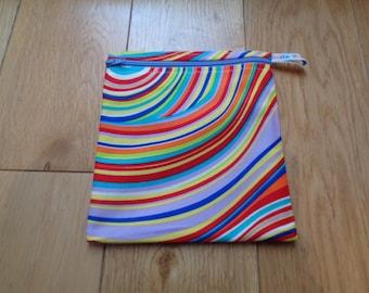Snack Bag - Bikini Bag - Lunch Bag  - Zero Waste Medium Poppins Waterproof Lined Zip Pouch - Sandwich bag - Eco - Groovy Swirls