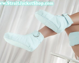 Mint Restraining Booties - Soft Padded Booties For Little One / ABDL / Adult Baby Diaper Lover / Bondage / Baby Mint