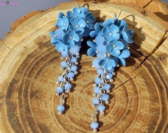 Blue cluster earrings Blue denim earrings Denim long Crystal earrings Cerulean dangle earrings Polymer clay jewelry Statement earrings