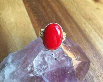 Red Mountain Jade Ring Adjustable Ring Crystal Ring Crystal Jewellery Silver Plated Ring Womens Ring Womens Jewellery Gift For Her SPR42