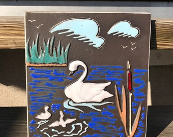 Retro Norwegian ceramic relief tile wall hanging plaque / swan bird lake  decor / AWF Arnold Wiigs Fabrikker Norway / 50s