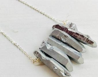 Titanium quartz necklace, quartz necklace, silver quartz, natural stone necklace, crystal quartz necklace, gemstone beads, quartz pendant