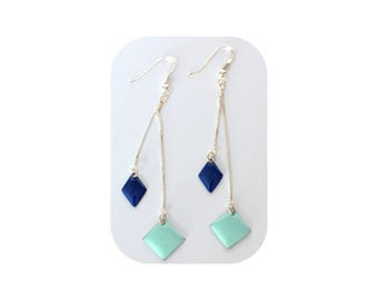 Earrings / 925 sterling silver chains and hooks / diamond enamel Blue Navy and sky blue