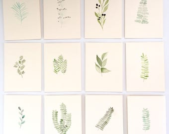 Hand painted nature plant cards