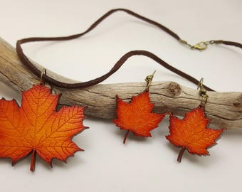 Laser Engraved Wooden Maple Leaf Necklace & Earrings Set / Suede Cord And Bronze Metal Clasp And Findings
