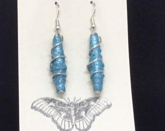 Beautiful, lightweight, drop earrings with handmade Tyvek beads.