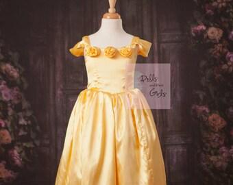 Ready to ShIp Golden Yellow Belle Dress--Satin Yellow Belle Dress, Beauty and the Beast dress size 6