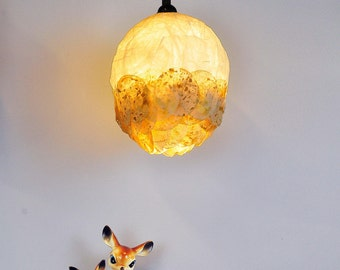Unique Ceiling Golden Lamp, Hanging Lamp, Bedroom Soft Romantic Light, Ceiling Paper Lamp, Pendant Light, Gift for her