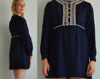 60s Embroidered Mini Dress // Navy // Long Sleeve Tunic // Mod Go Go Dancer