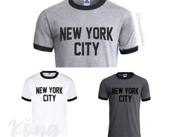 NEW YORK CITY John Lennon Ringer Men T-shirt T-shirts Tee T14