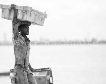 Black and White, Porter at St.Louis Fish Market, Senegal, African Photography, Travel Photography, Fine Art Photography, Wall Art Print