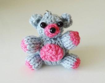 Keychain made Teddy - bear - wool bag charm - Christmas gift