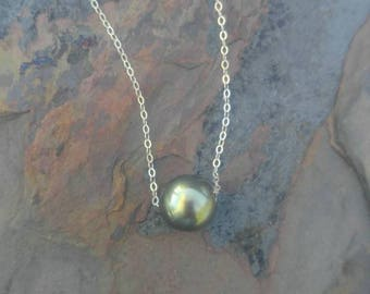 Pistachio Tahitian Pearl 11mm Floating Pearl Necklace