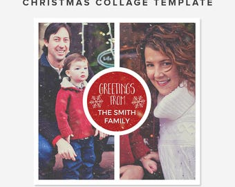 "Photo Collage Template Christmas Edition with snow effect - Photo Layout – 10x10"" - PSD Layered - Christmas Template - INSTANT DOWNLOAD"