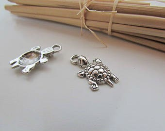 5 turtle charm 23 x 12 mm silver colored - 3 mm hole - 202.22 metal