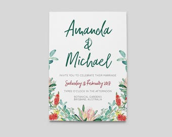 Printable Wedding Invitation | Wedding Invitations | Botanical Native Australian Wedding Invitation | Digital Wedding Stationery | Australia
