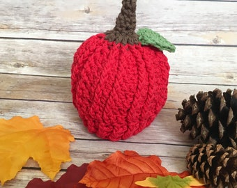 Apple Crochet Hat - Apple Beanie - Toddler Hat - Newborn - Handmade - Fall Hat - Newborn Photo Prop - Halloween Hat - Red Apple Hat