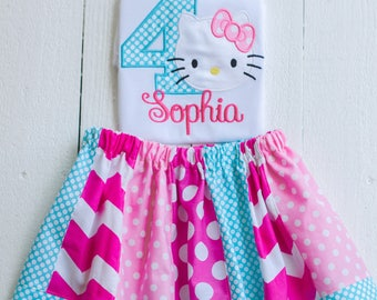 hello Kitty personalized  birthday outfit, hello kitty shirt, hello kitty birthday