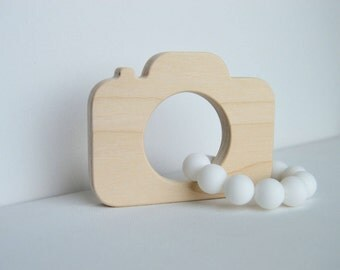 Organic Wooden Teether, Baby Teether Toy, Baby Teething Toy, Silicone and Wood Baby Teether, Maple Teether, New Baby Gift, Camera