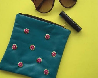 Embellished Teal Leather Pouch