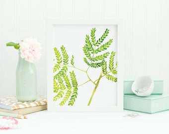 watercolor leaves, small leaves wall art, shrubs watercolor