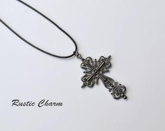 Large Black Fancy Metal Cross Pendant Necklace