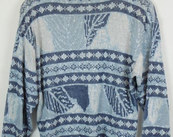 Vintage Sweater, Vintage Knit Pullover, 80s, 90s, blue and white, oversized look