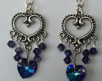 Swarovski Crystals Earrings - Bermuda Blue Chandelier Earrings