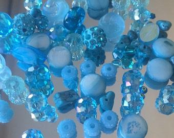 Blue Beads Mix -  Mixed Shades/Sizes/Shapes of Turquoise Blue Beads -Rhinestone Beads, Glass Beads, Crystal Beads...- 35+ Beads (#613)