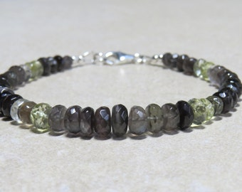 Very Rare AAA Sillimanite Cats Eye Faceted Rondelle Bracelet