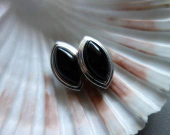 Earrings-Vintageschmuck-clips of the 80-90s-ear jewellery-retro-clips Jewelry-retro jewelry, black-silver color