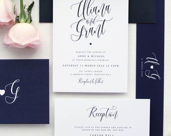 Uliana Navy Wedding Invitation Sets, Calligraphy Wedding Invitations, Printed Sets or Printable Invitations, Navy Envelopes, Navy Wax Seals